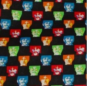 Picture of The Beatles Faces on Black Half Yard Fleece Fabric