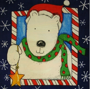 Picture of Santas Surprise Christmas Bear 48x60 Fleece Fabric Panel