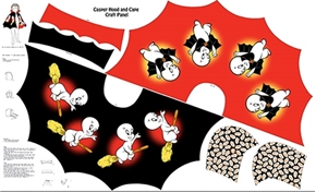 Casper The Ghost Hood and Cape Childs Costume Fabric Craft Panel