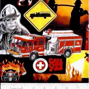 Firemen 911 Fire Trucks Dalmatians Squares Cotton Fabric