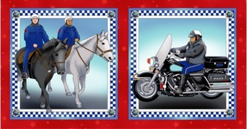 Heroes On Parade Police Cycle And Horseback 12X23 Fabric Pillow Panel
