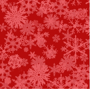 Chill Out! Falling Snowflakes on Red Cotton Fabric