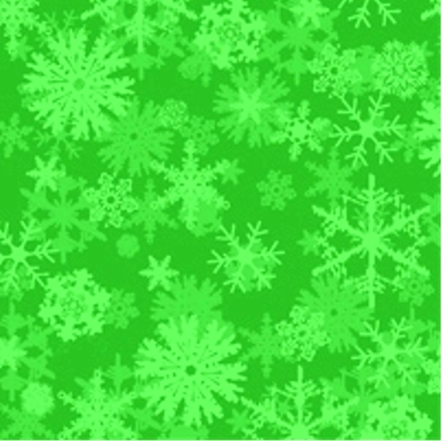 Chill Out! Falling Snowflakes on Green Cotton Fabric