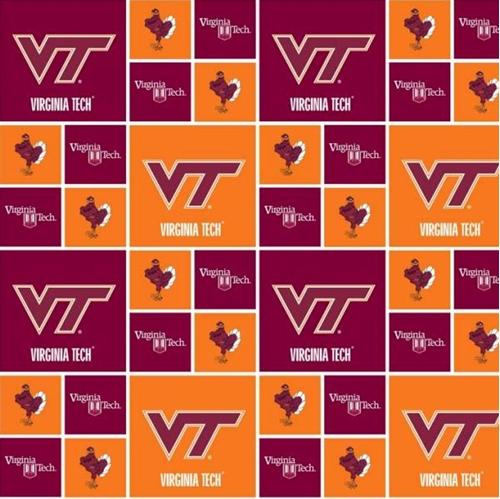 Virginia Tech University Hokies in Squares Cotton Fabric