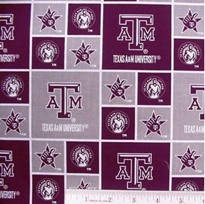 Picture of Texas A and M University in Squares Cotton Fabric