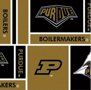 Purdue University Boiler Maker in Squares Cotton Fabric