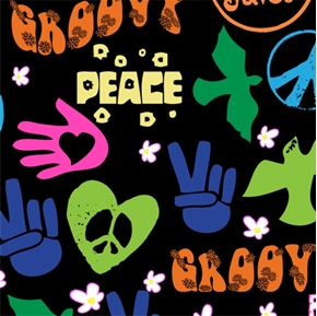 Picture of Trippin Groovy Peace Flower Power on Black Cotton Fabric