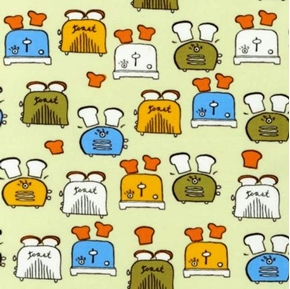 Metro Cafe Toasters And Toast On Beige Cotton Fabric
