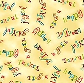 Song of Joy Joyful Word Blender on Cream Cotton Fabric