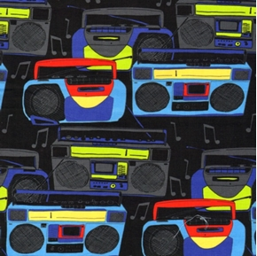 Jam Box Music Boombox Stereos on Black Cotton Fabric