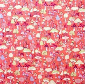 Picture of Mushroom City Funky Mushrooms on Pink Cotton Fabric