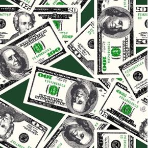 Dollar Bills Money on Green Cotton Fabric