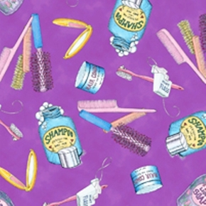 Mouse Makeovers Salon Supplies on Purple Cotton Fabric