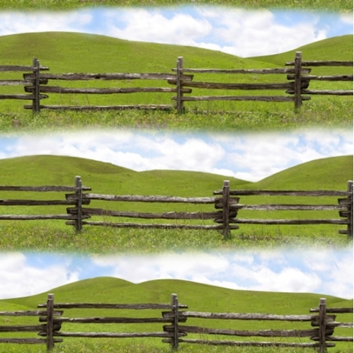 Split Rail Fence Round Up Cotton Fabric