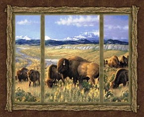 Picture of Bison Range Buffaloes on the Range Large Cotton Fabric Panel