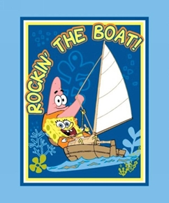 Nickelodeon Sponge Bob Rockin The Boat Large Cotton Fabric Panel