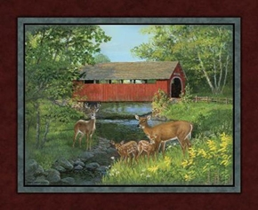 Covered Bridge And Deer Large Fabric Panel
