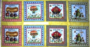 Picture of Bugs Picnic Insects and Food in Squares 24x44 Large Fabric Panel