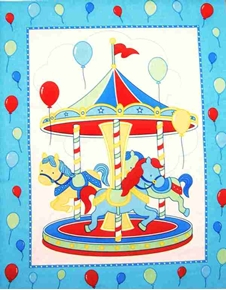 Carousel with Horses Large Cotton Fabric Panel
