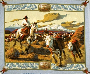 Picture of Cattle Drive Cowboy Round-Up Large Cotton Fabric Panel
