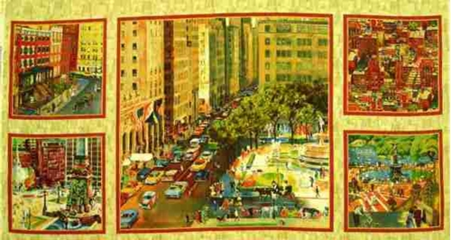City Scapes City Scenes 24x44 Large Cotton Fabric Panel