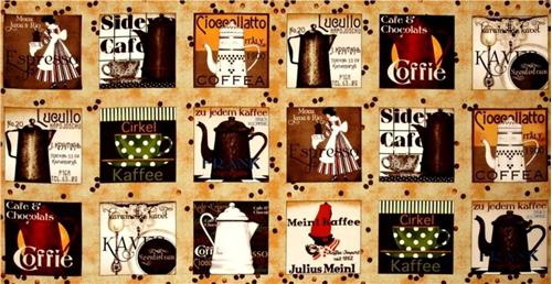 Daily Grind Coffee Pots and Cups Squares 24x44 Large Fabric Panel