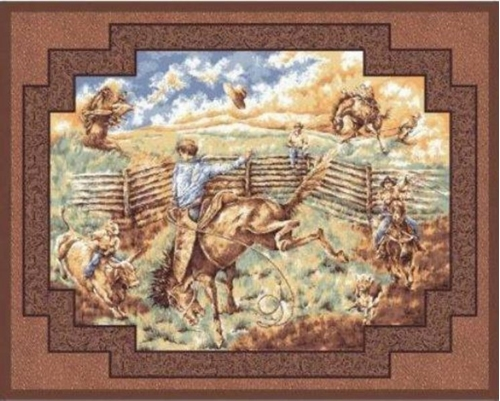 Rawhide Cowboy Rodeo Large Cotton Fabric Panel