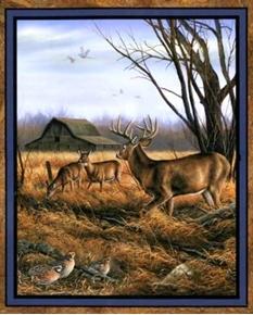 Eastern Edge Deer And Pheasants Near Old Barn Large Fabric Panel