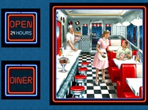 Todays Special Diner Scene Waitress Cook 24X44 Large Fabric Panel
