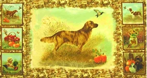 Open Fields Hunting Dog Farm Scene 24x44 Large Cotton Fabric Panel
