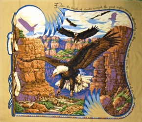 Sacred Wings Eagle And Feathers Large Cotton Fabric Panel