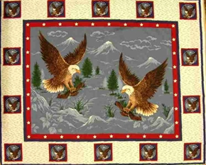 Picture of Majestic Patriotic Eagles Large Cotton Fabric Panel