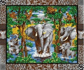 Elephants Monkey Giraffes On Grey Large Cotton Fabric Panel