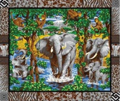 Elephants Monkey Giraffes On Grey Large Cotton Fabric Panel