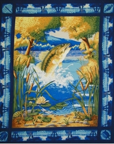 Picture of Fish in Woodland Pond on Blue Large Cotton Fabric Panel