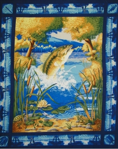 Fish In Woodland Pond On Blue Large Cotton Fabric Panel