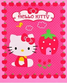 Hello Kitty And Cupcake Strawberry House Large Cotton Fabric Panel