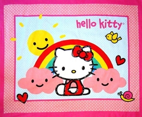 Hello Kitty Rain Or Shine Clouds Rainbow And Sun Large Fabric Panel
