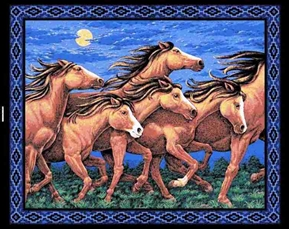 Thunder Ridge Horses In The Night Large Cotton Fabric Panel