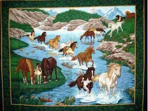 River Run Horses Large Cotton Fabric Panel