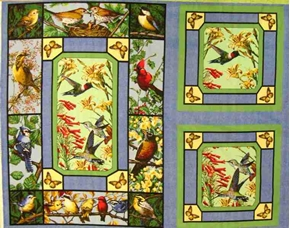 Hummingbirds And Songbirds Large Cotton Fabric Panel