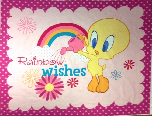 cotton fabric large panel looney tunes tweety bird rainbow