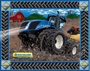 New Holland Agriculture Tractors On The Farm Large Fabric Panel