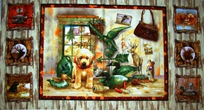 Autumn Woods Puppy And Duck Scenes 24X44 Large Cotton Fabric Panel