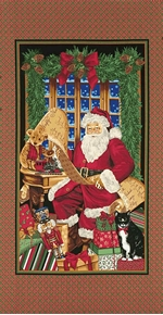 Santa Reading Naughty or Nice List 24x44 Large Cotton Fabric Panel
