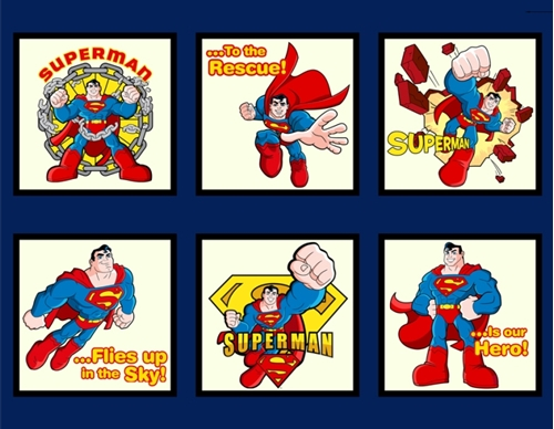 Cotton Fabric Large Panel Superman Super Hero Dc
