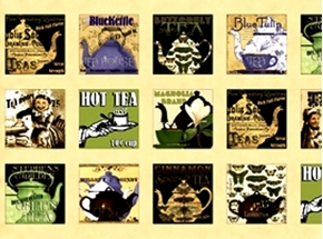 Short And Stout Teapot And Cup Squares 24X44 Large Fabric Panel
