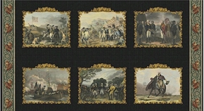 Picture of George Washington 6 History Panels 24x44 Large Cotton Fabric Panel