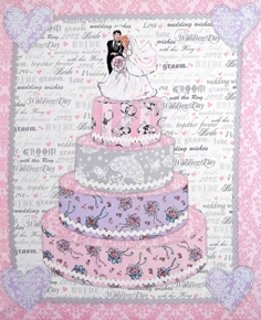 Picture of Bride and Groom on Wedding Cake Large Cotton Fabric Panel