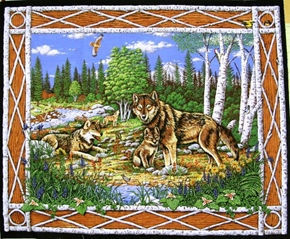 Wolves In The Wild Birch Tree Border Large Cotton Fabric Panel